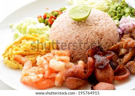 Kao Klook Ga-pi ( Shrimp paste fried rice) - stock photo