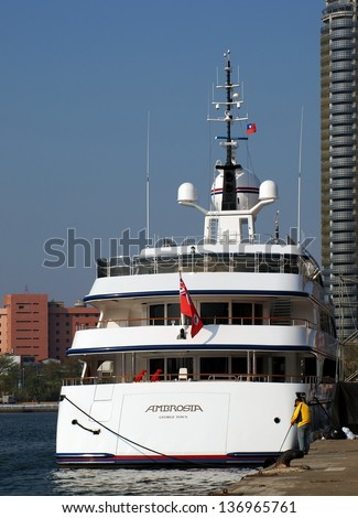 KAOHSIUNG, TAIWAN - FEBRUARY 22: The luxury yacht Ambrosia makes a port call at Kaohsiung City on February 22, 2013 in Kaohsiung.