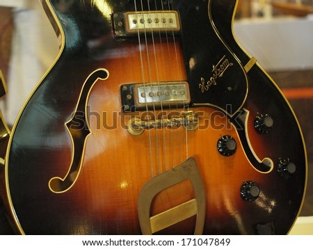 KAOHSIUNG, TAIWAN -- JULY 8, 2012: A close up view of the legendary Hagstrom Viking II guitar used by Elvis Presley in 1968