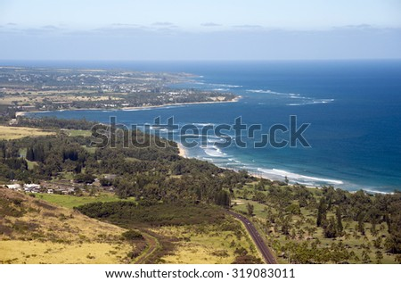 Kapaa, Wailua Aerial, Kauai, Hawaii  - stock photo