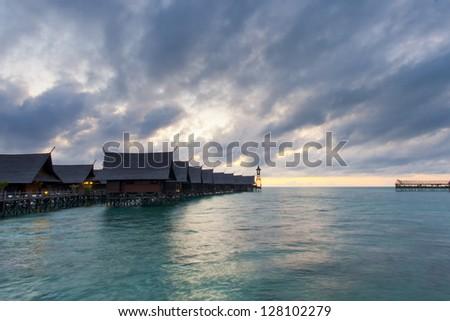 Kapalai Resort view Turquoise Tropical Paradise Borneo Indonesia - stock photo
