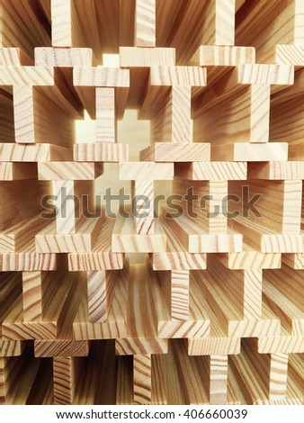 Kapla Wood Structure made of identical tiles - stock photo