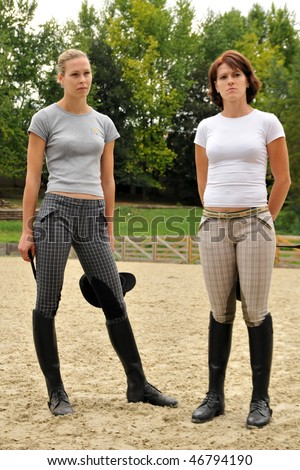 KAPOSVAR, HUNGARY - AUGUST 5: Leila Gyenesei (L) and Zsuzsanna Voros (R) (modern pentathlon champions) at a training , August 5, 2008 in Kaposvar, Hungary
