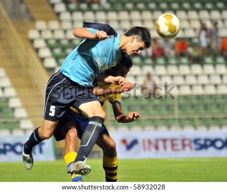KAPOSVAR, HUNGARY - JULY 19: Unidentified players in action at the Bene Ferenc Cup under 19 game between NK Osijek (CRO) and Felcsut (HUN) July 19, 2010 in Kaposvar, Hungary.