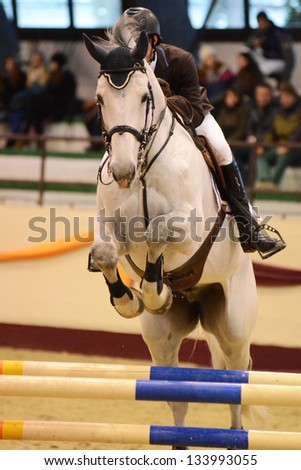 KAPOSVAR, HUNGARY - MARCH 24: Balazs Sandor jumps with his horse (Zengo) on the Masters Tournament International Jumping Competition, March 24, 2013 in Kaposvar, Hungary - stock photo