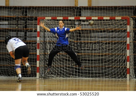 KAPOSVAR, HUNGARY - MAY 9: Krisztina Pentz (L) in action at Hungarian Handball National Championship II. match (Kaposvar vs. Bacsbokod) May 9, 2010 in Kaposvar, Hungary.