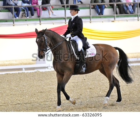 KAPOSVAR, HUNGARY - OCTOBER 9: Lindsay Jenkins (GBR) and her horse (Senoritta) in action at the Dressage World Cup Competition October 9, 2010 in Kaposvar, Hungary.