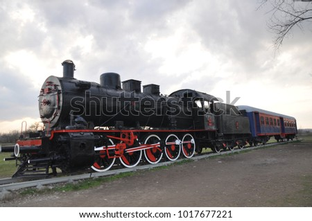 Karaagac, Edirne, Turkey. 02/01/2018. Historic steam locomotive. It is exhibited in front of the old railway station.