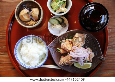 karaage with rice and soup japanese food - stock photo