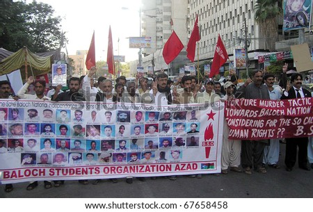 KARACHI, PAKISTAN - DEC 21: Activists of Baloch Students Organization-Azad are protesting in favor of their demands during a demonstration at Karachi press club on December 21, 2010 in Karachi, Pakistan. - stock photo