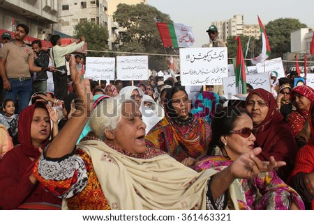 KARACHI, PAKISTAN - JAN 12:  MQM are holding demonstration outside Election Commission Karachi as they are demanding to deliver powers to newly elected mayor of Metropolitan, on January 12, 2016.