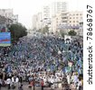 KARACHI, PAKISTAN - JUN 05: Supporters of Jamat-e-Islami (JI) gather at MA.Jinnah road on the second day of sit-in in favor of their demands on June 05, 2011in Karachi. - stock photo