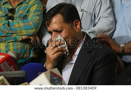 KARACHI, PAKISTAN - MAR 03: Former Mayor of Karachi, Mustafa Kamal talking to media persons during a press conference held at his residence on March 03, 2016 in Karachi. - stock photo