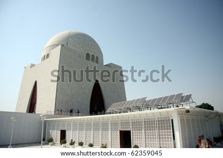 KARACHI, PAKISTAN, OCT 02: View of newly installed Solar System at Quaid-e-Azam  Mausoleum. The Quaid's mausoleum where a solar system has been installed on October 2, 2010 in Karachi, Pakistan.