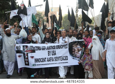 KARACHI, PAKISTAN - SEP 23: Activists of Pasban Pakistan are holding a protest  demonstration as they demanding to release Aafia Siddiqui imprison in USA, on September 23, 2016 in Karachi.