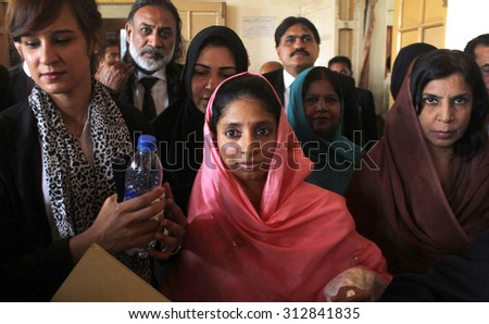 KARACHI, PAKISTAN - SEP 03: Indian lost girl in Lahore, Geeta represented to City Court on the hearing of Geeta Repatriation Case on September 03, 2015 in Karachi.