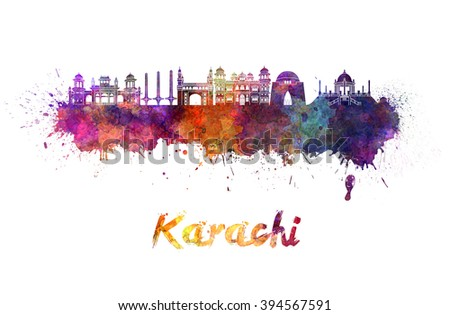 Karachi skyline in watercolor splatters with clipping path