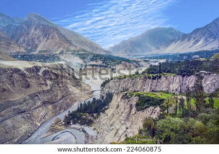 karakoram highway in the valley at Karimabad in Pakistan - stock photo