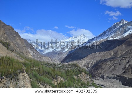 Karakorum mountains along the way to Hunza valley with blue sky , and some shadow at the mountain , Northern Pakistan - stock photo