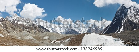 Karakorum Mountains and Glacier Panorama, Pakistan