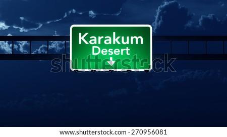 Karakum Desert Turkmenistan Highway Road Sign at Night 3D artwork - stock photo