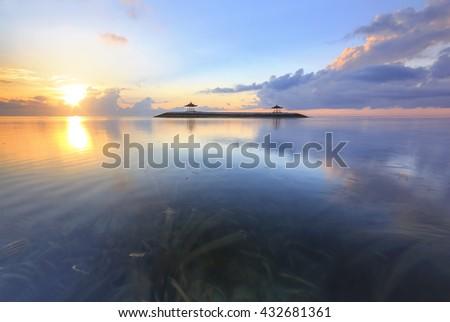Karang beach, Sanur during sunrise in Bali, Indonesia - stock photo
