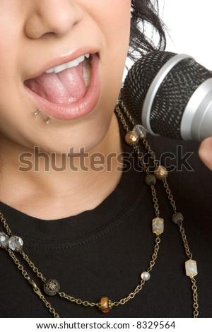 Karaoke Girl - stock photo