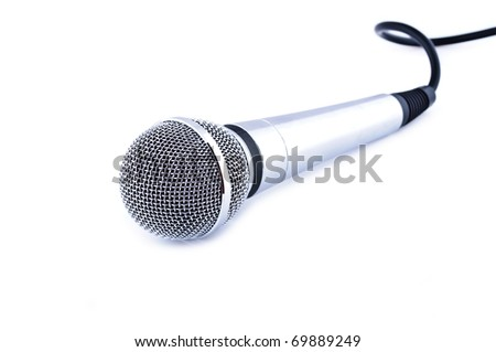 Karaoke microphone isolated on white background
