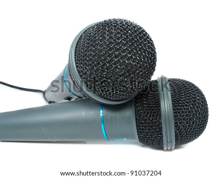 Karaoke microphone. Isolated on white background.