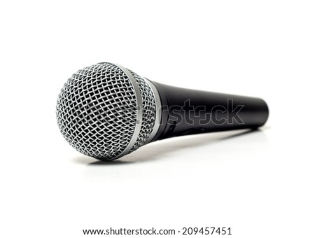 Karaoke microphone isolated on white. selective focus