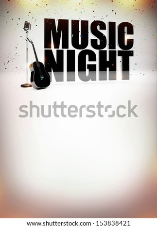 Karaoke music night abstract poster background with space - stock photo