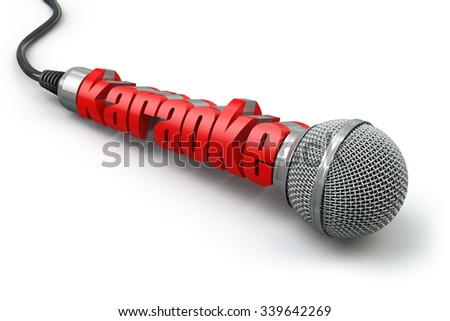 Karaoke party concept. Two microphones with text. 3d - stock photo