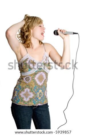 Karaoke Singer - stock photo