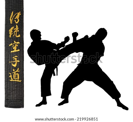 Karate athletes on a white background.Character karate.Black belt in karate.silhouettes. Sports Scramble. - stock photo