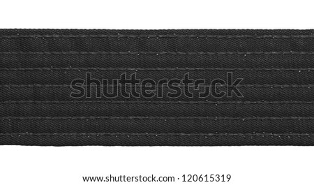 Karate black belt closeup isolated on white background