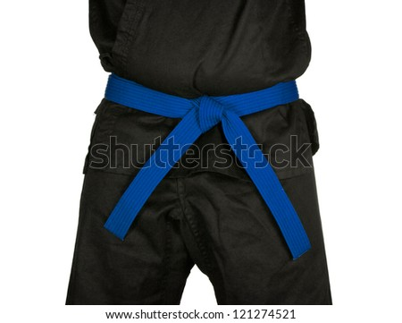 Karate blue belt tied around marital artists torso wearing black dojo GI's.