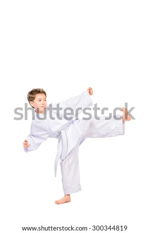 Karate boy in kimono posing in the studio. Sport, martial arts. Isolated over white. Full length portrait. - stock photo