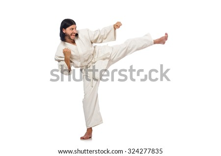 Karate fighter isolated on white - stock photo