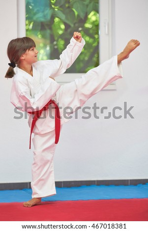 karate girl red belt