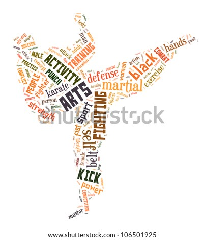 karate info-text graphics and arrangement concept (word cloud) with isolated white background - stock photo