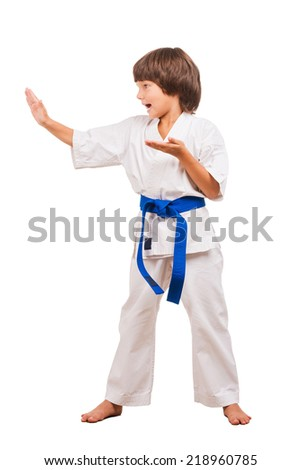 Karate Kid. Full length of little boy in karate pose. Karate choreography position. - stock photo