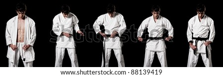 Karate male fighter dressing kimono sequence high contrast composite sequence on black background.