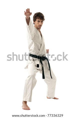 Karate male fighter young isolated on white background - stock photo