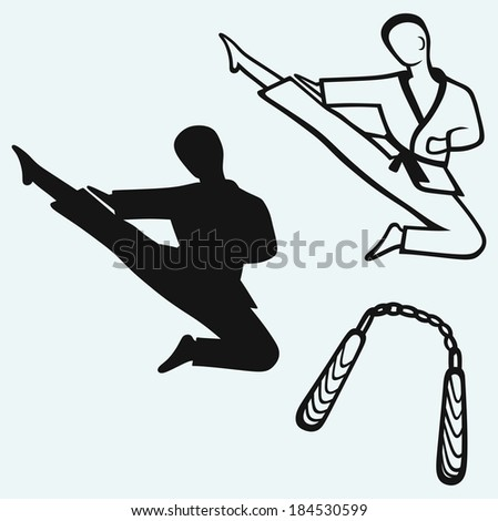 Karate male, young fighter and nunchaku weapon. Raster version - stock photo