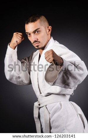Karate martial arts fighter - stock photo