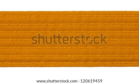 Karate orange belt closeup isolated on white background