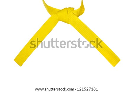 Karate orange belt tied tied in a knot - stock photo