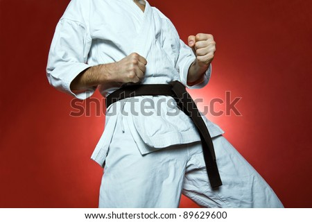 Karate training, sport and fitness at gym - stock photo