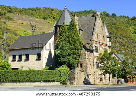 KARDEN, GERMANY - AUGUST 24, 2016: Historic houses in the Karden, district of Treis-Karden, on the Valley of Moselle River. Old historic site on the Moselle River near Koblenz