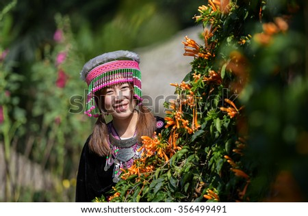 Karens girl with traditional clothes - stock photo